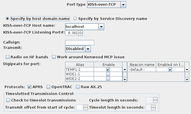 Configuring KISS-over-TCP Ports